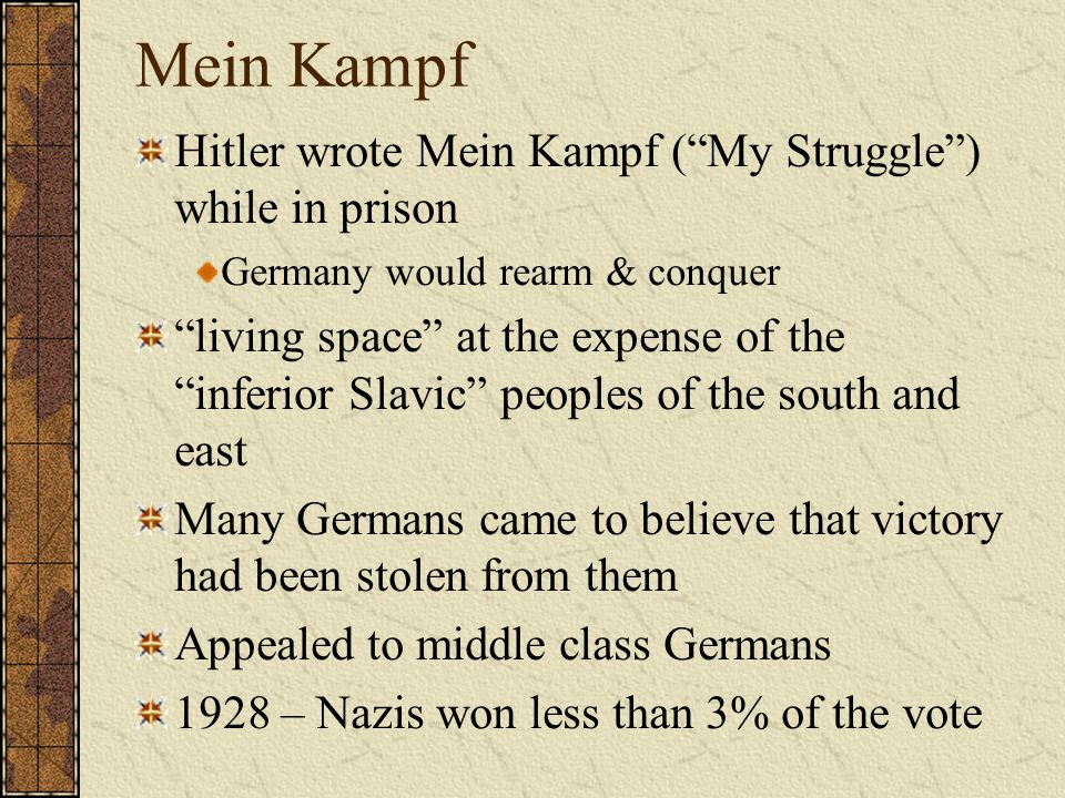 Mein Kampf Hitler wrote Mein Kampf ( My Struggle ) while in prison