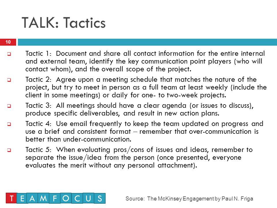 TALK: Tactics T E A M F O C U S