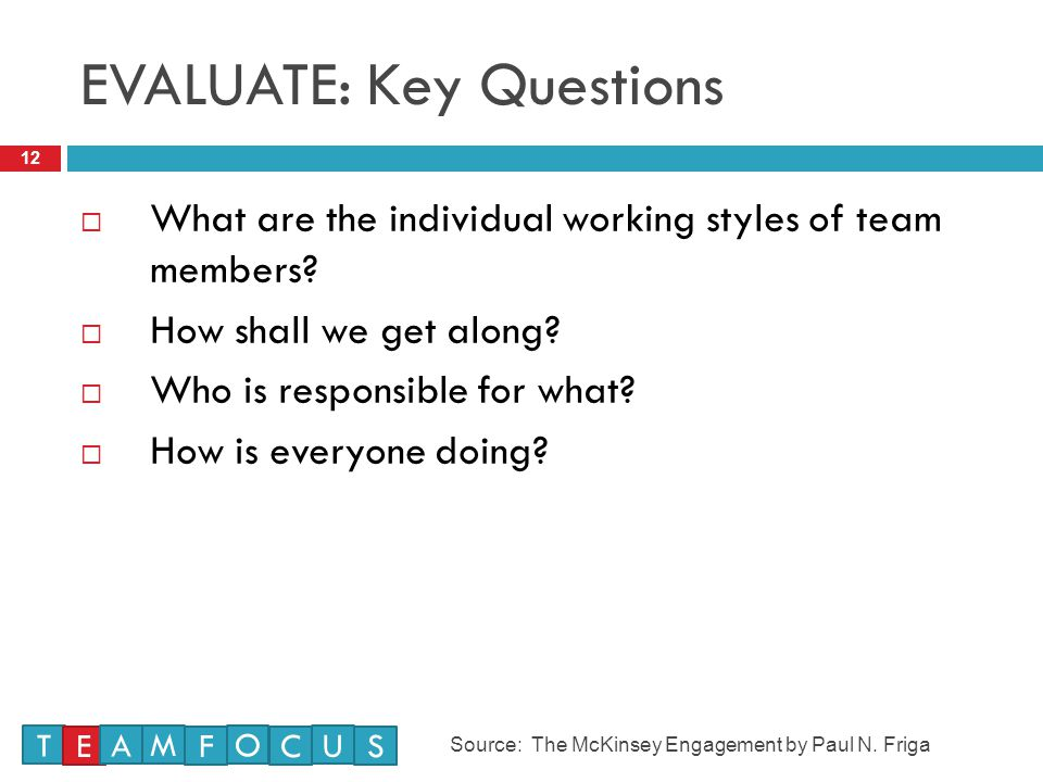 EVALUATE: Key Questions