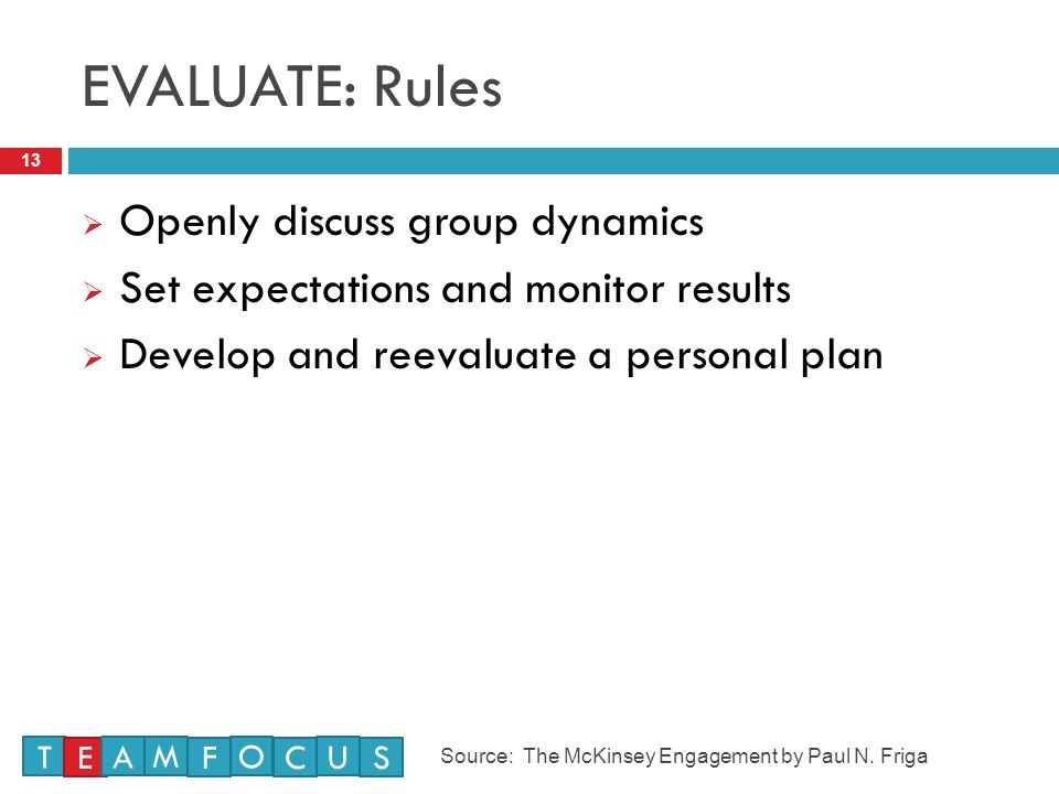 EVALUATE: Rules Openly discuss group dynamics