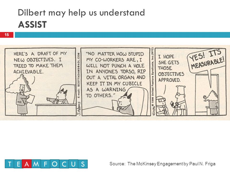 Dilbert may help us understand ASSIST