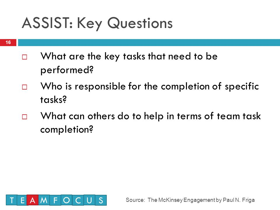 ASSIST: Key Questions What are the key tasks that need to be performed Who is responsible for the completion of specific tasks