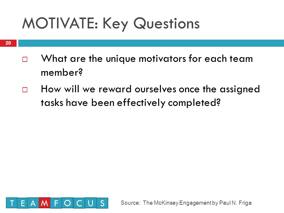 MOTIVATE: Key Questions