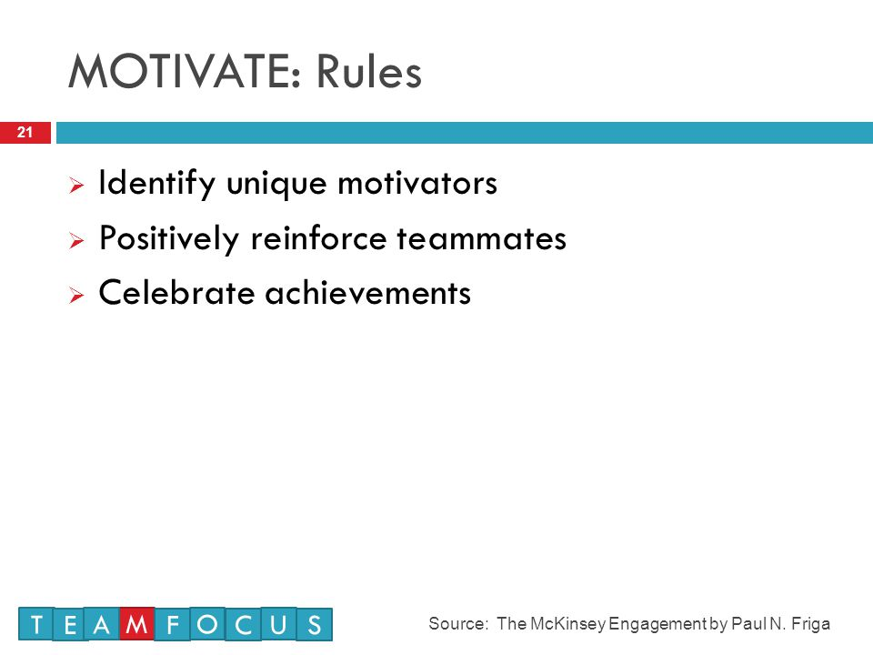 MOTIVATE: Rules Identify unique motivators