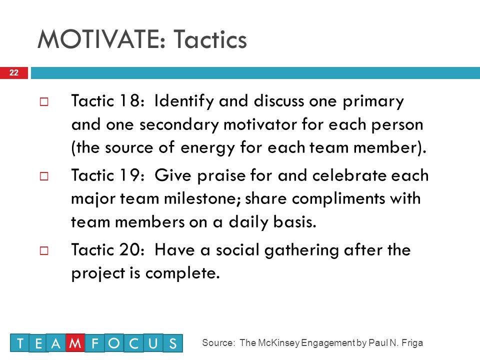 MOTIVATE: Tactics