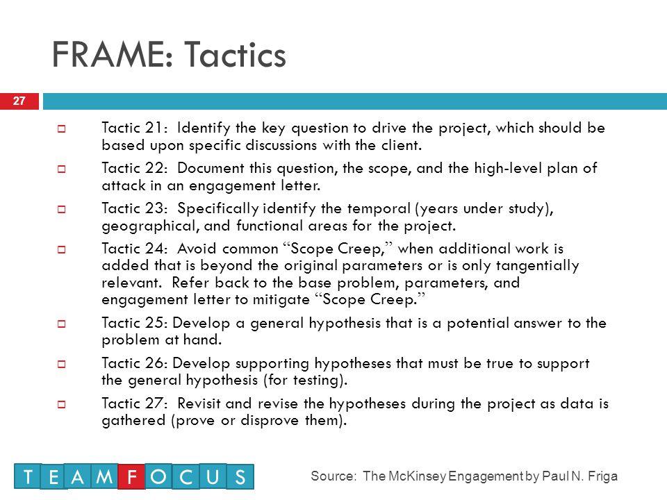 FRAME: Tactics T E A M F O C U S
