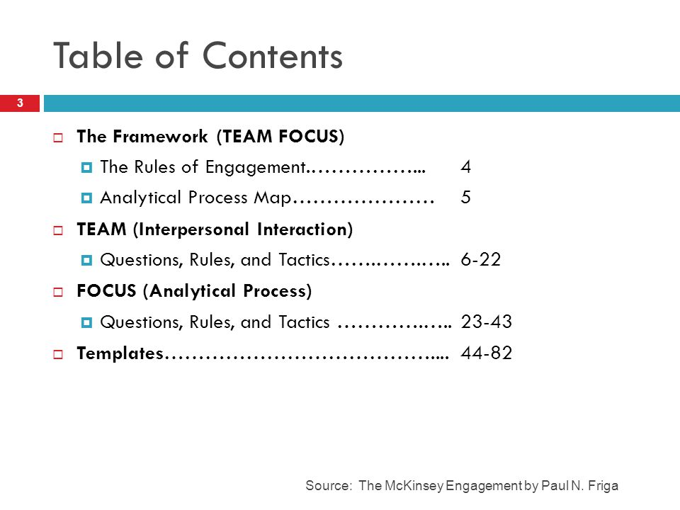 Table of Contents The Framework (TEAM FOCUS)