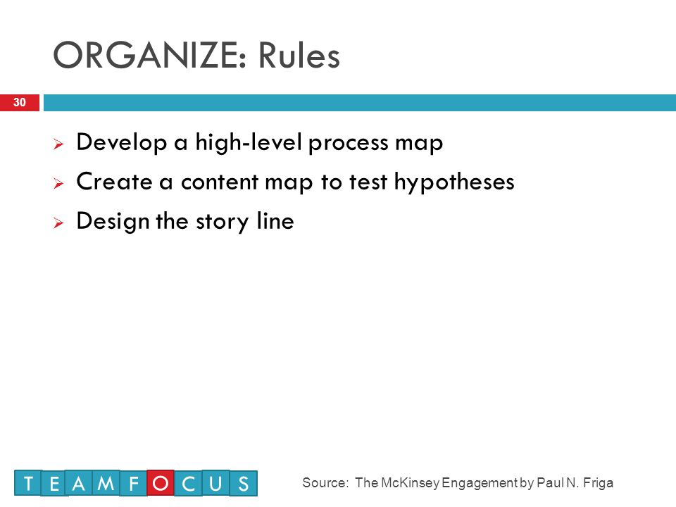 ORGANIZE: Rules Develop a high-level process map