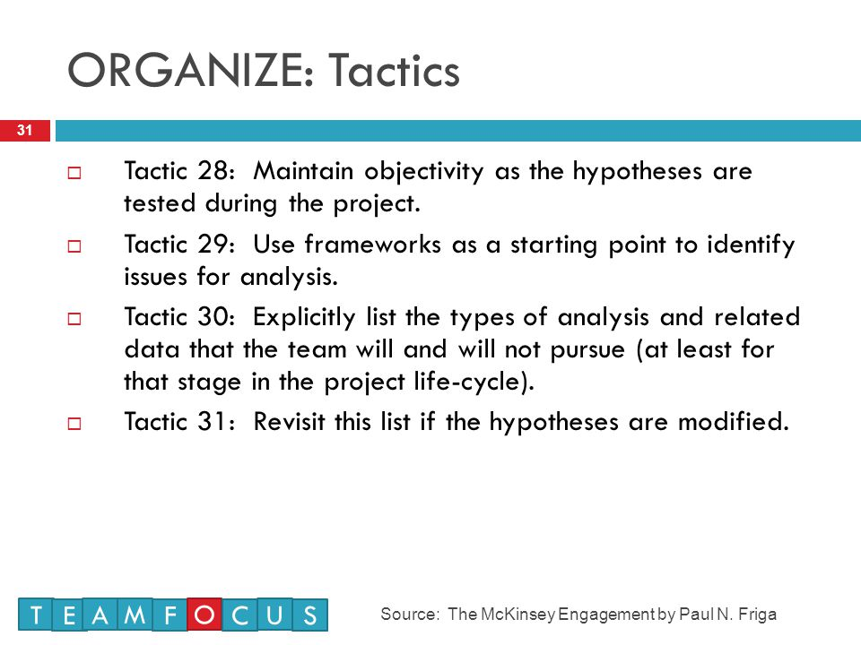 ORGANIZE: Tactics Tactic 28: Maintain objectivity as the hypotheses are tested during the project.