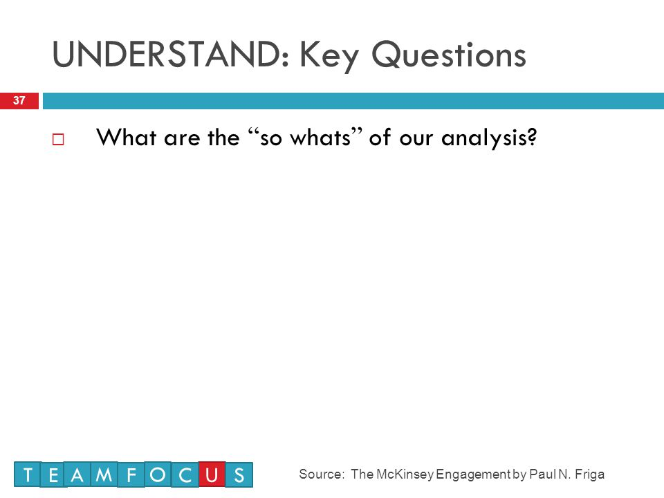 UNDERSTAND: Key Questions