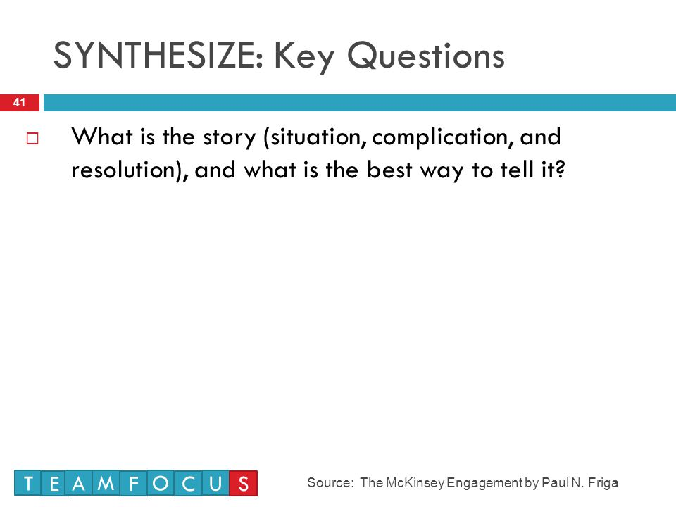 SYNTHESIZE: Key Questions