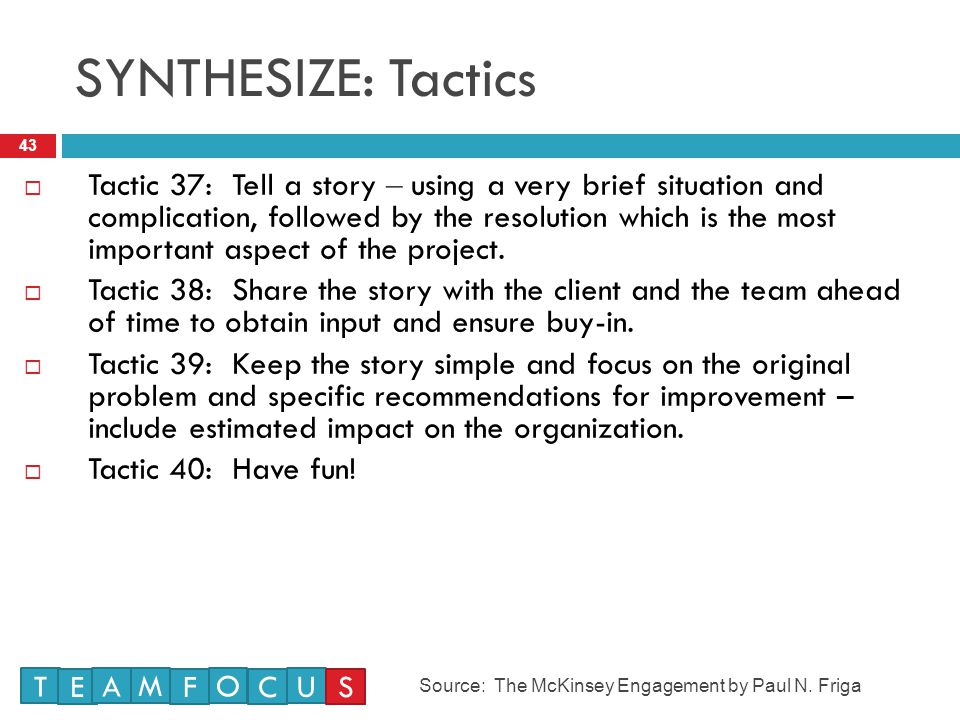 SYNTHESIZE: Tactics