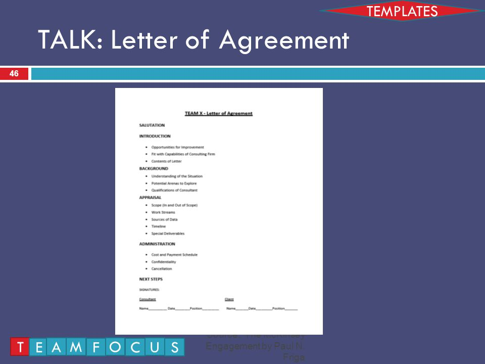 TALK: Letter of Agreement