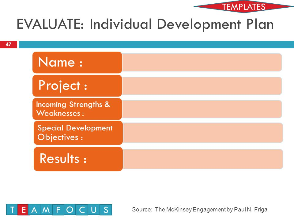 EVALUATE: Individual Development Plan