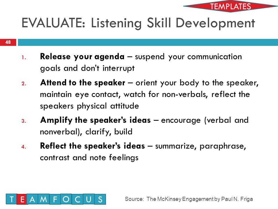 EVALUATE: Listening Skill Development