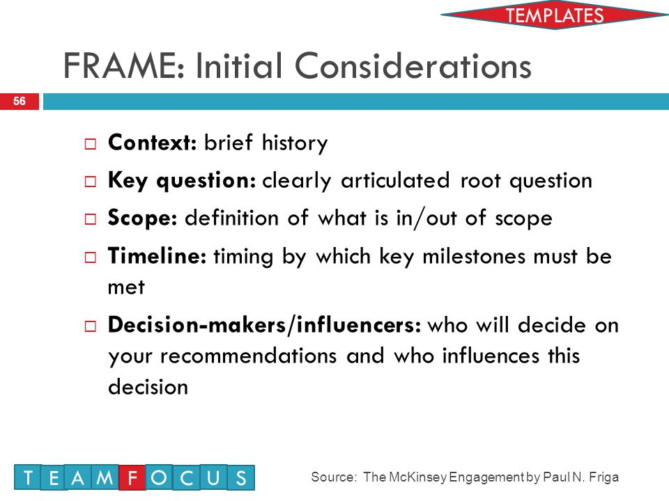 FRAME: Initial Considerations