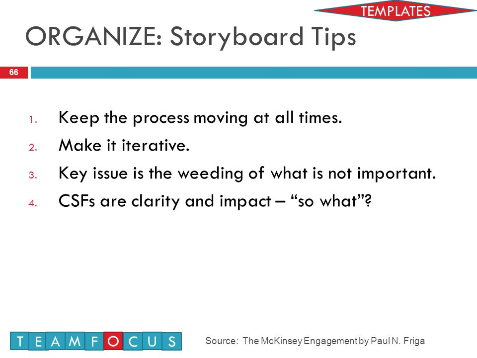 ORGANIZE: Storyboard Tips