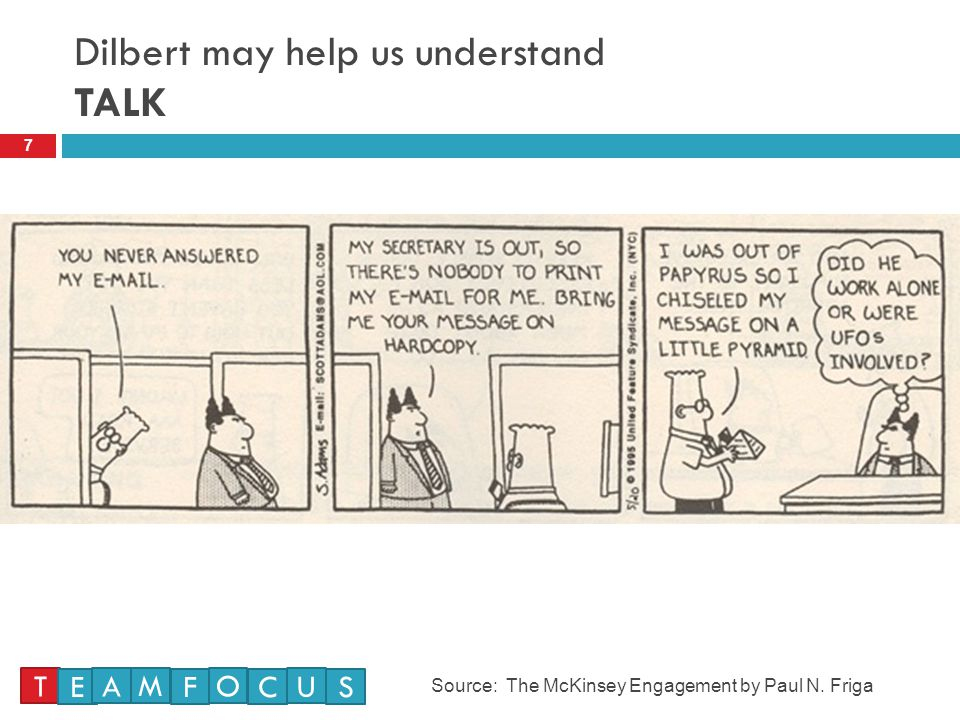 Dilbert may help us understand TALK