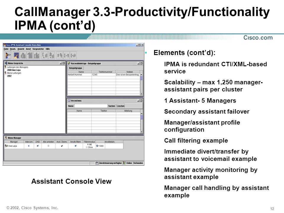 CallManager 3.3-Productivity/Functionality IPMA (cont'd)