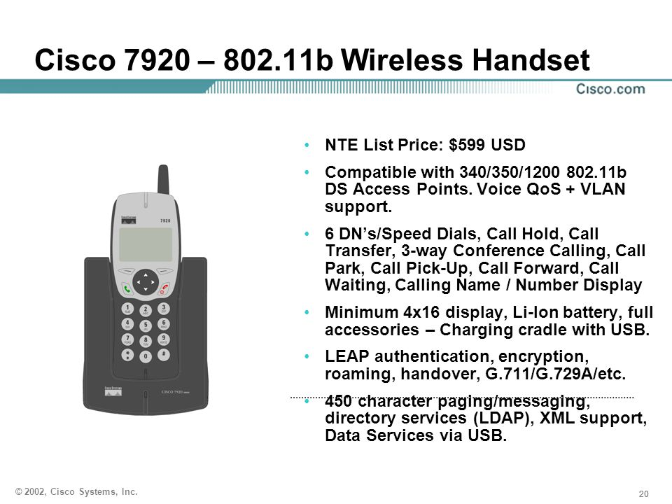 Cisco 7920 – 802.11b Wireless Handset