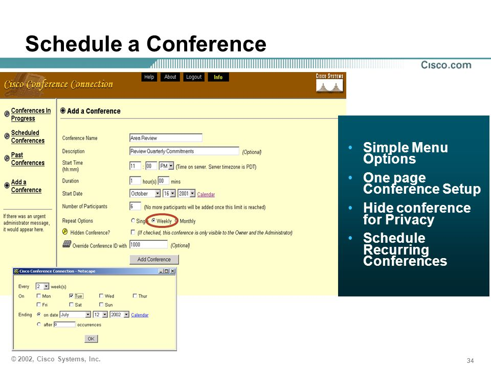 Schedule a Conference Simple Menu Options One page Conference Setup
