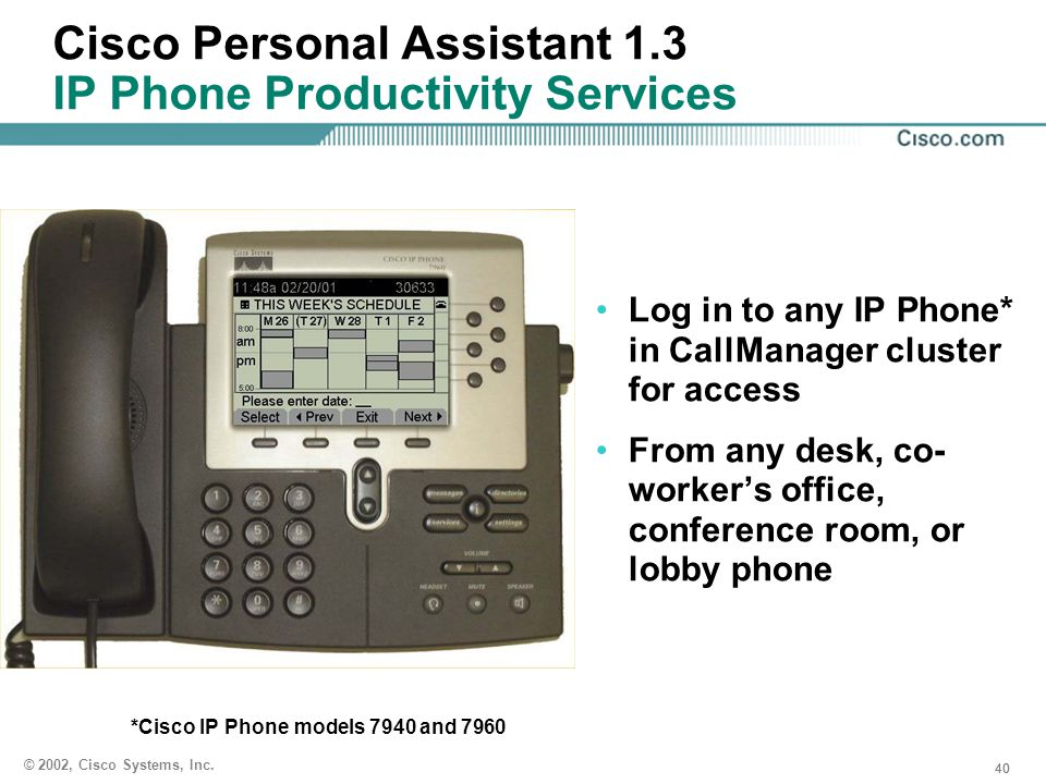Cisco Personal Assistant 1.3 IP Phone Productivity Services