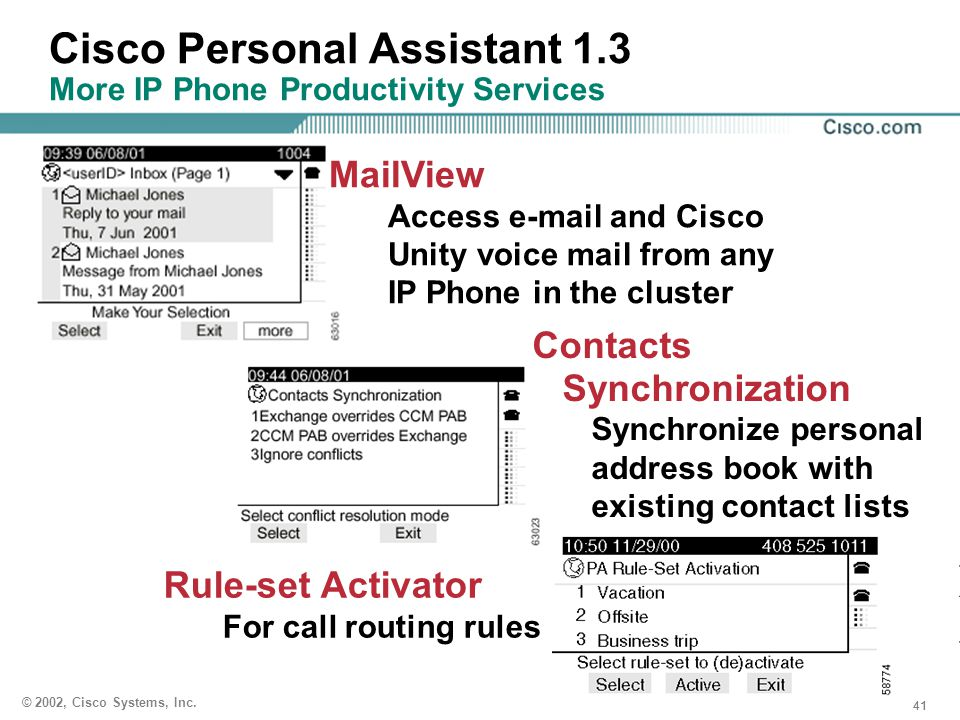 Cisco Personal Assistant 1.3 More IP Phone Productivity Services