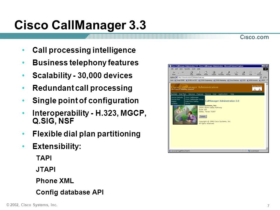 Cisco CallManager 3.3 Call processing intelligence