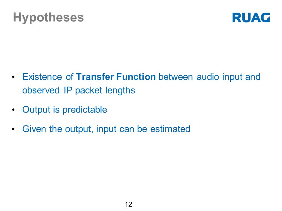 Hypotheses Existence of Transfer Function between audio input and observed IP packet lengths. Output is predictable.