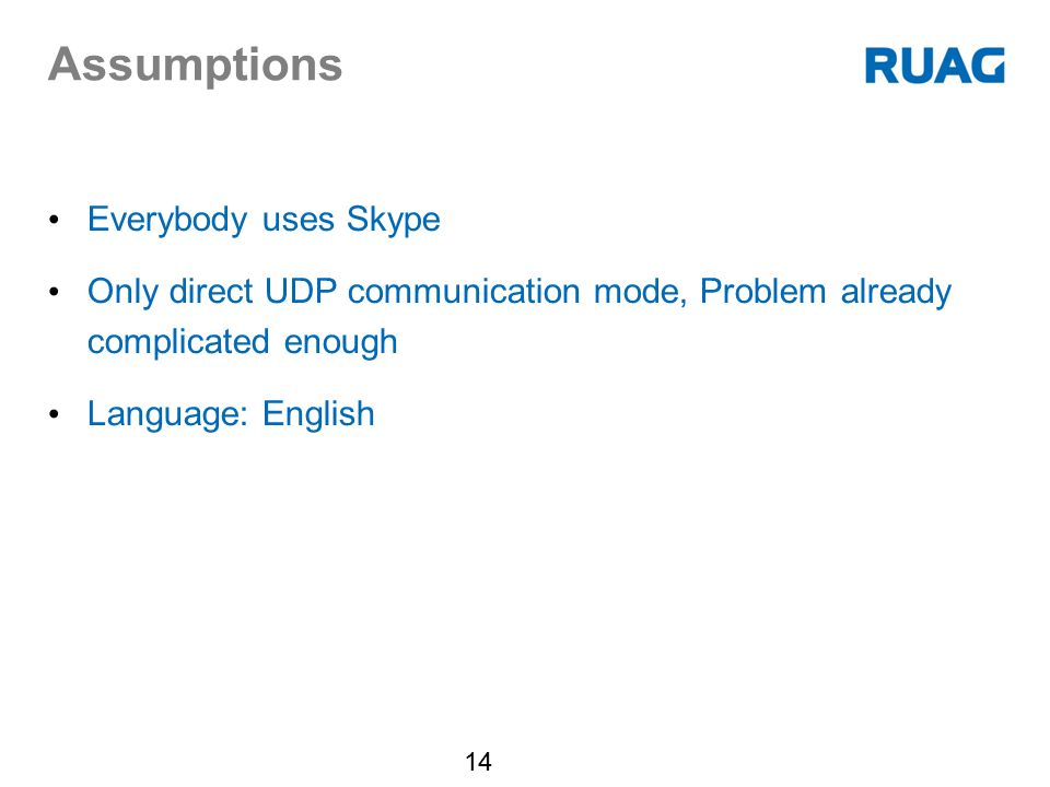 Assumptions Everybody uses Skype