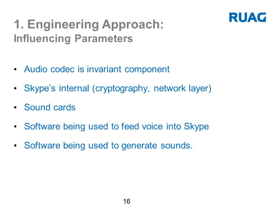 1. Engineering Approach: Influencing Parameters