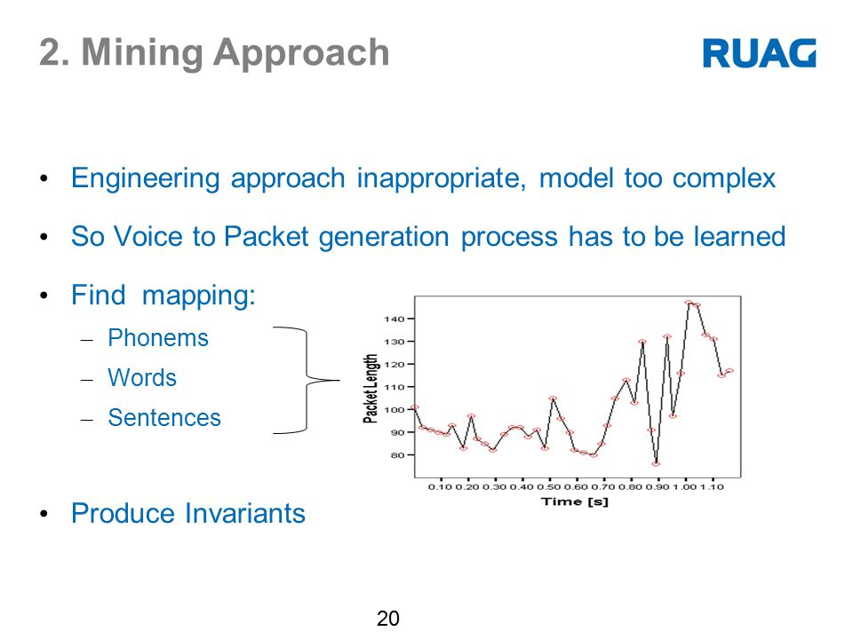 2. Mining Approach Engineering approach inappropriate, model too complex. So Voice to Packet generation process has to be learned.