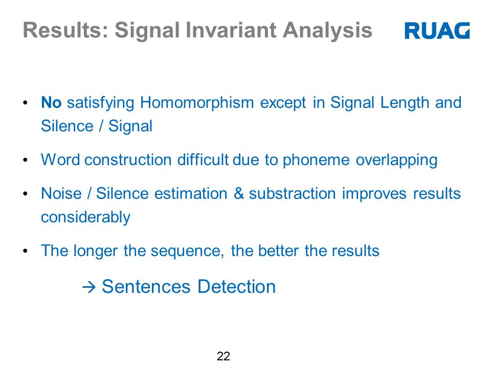 Results: Signal Invariant Analysis