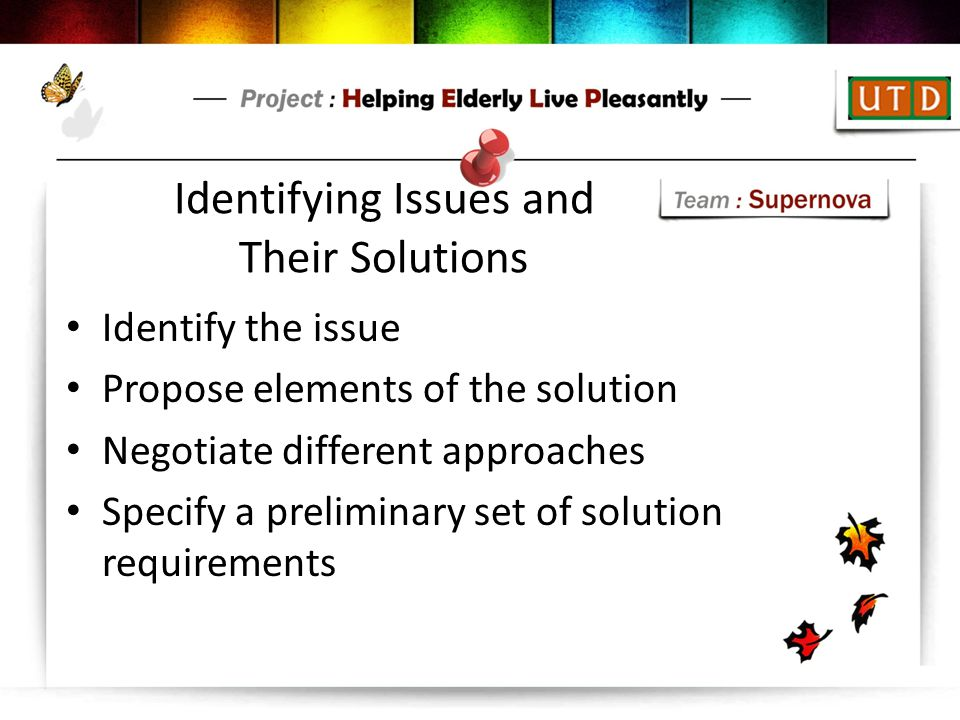 Identifying Issues and Their Solutions