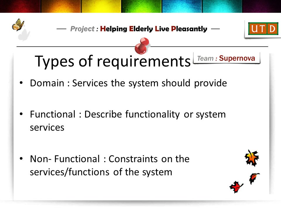 Types of requirements Domain : Services the system should provide