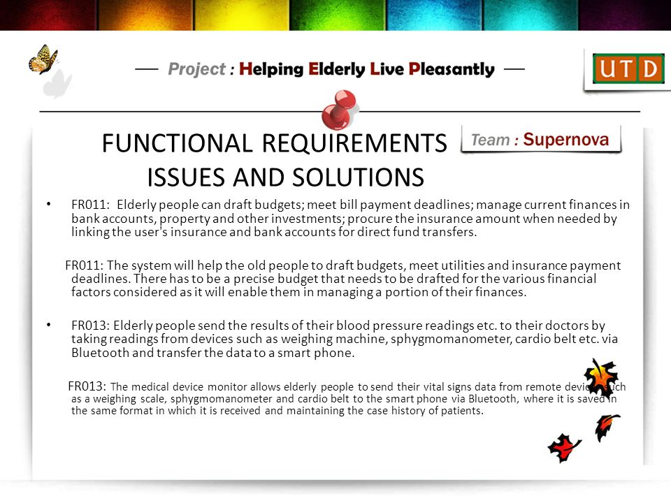 FUNCTIONAL REQUIREMENTS ISSUES AND SOLUTIONS