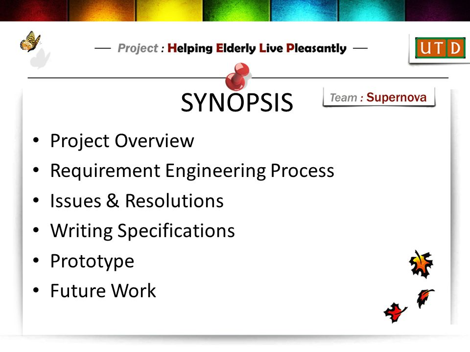 SYNOPSIS Project Overview Requirement Engineering Process