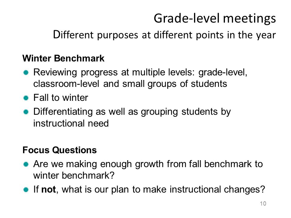 Grade-level meetings Different purposes at different points in the year