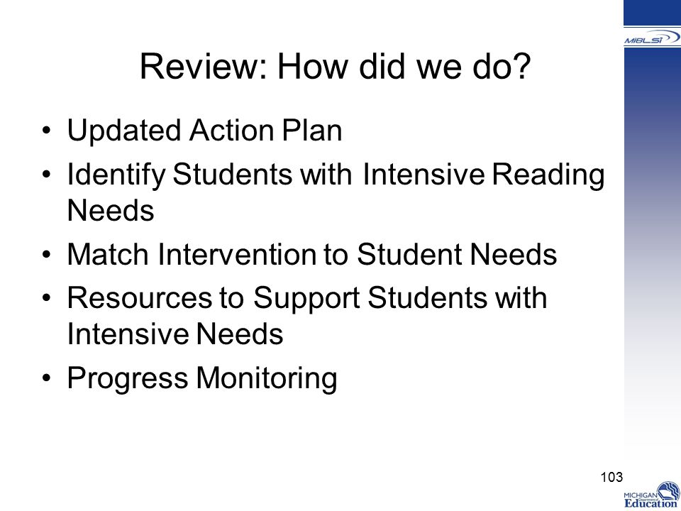 Review: How did we do Updated Action Plan