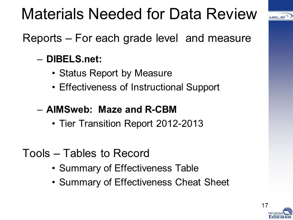 Materials Needed for Data Review