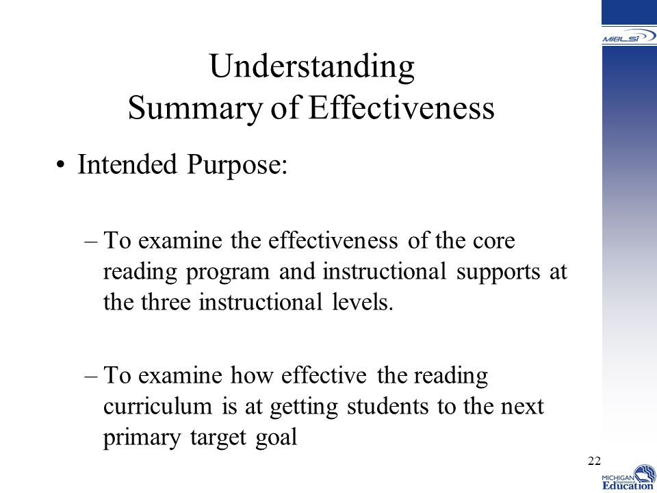Understanding Summary of Effectiveness