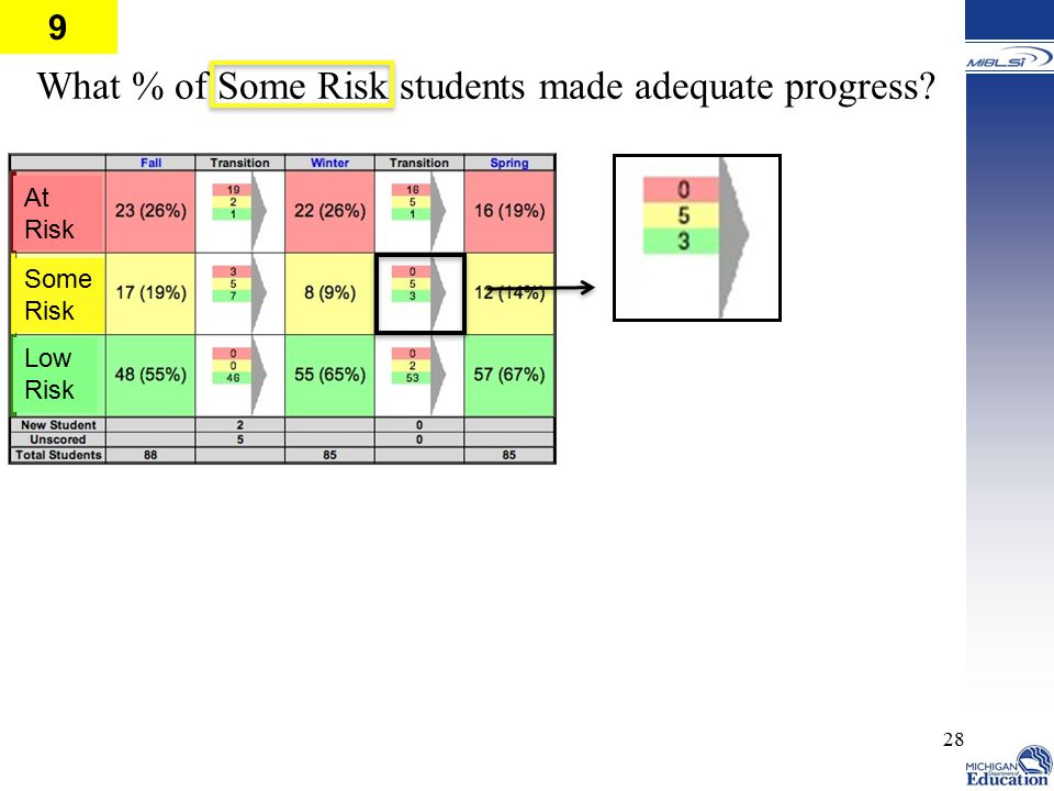 What % of Some Risk students made adequate progress