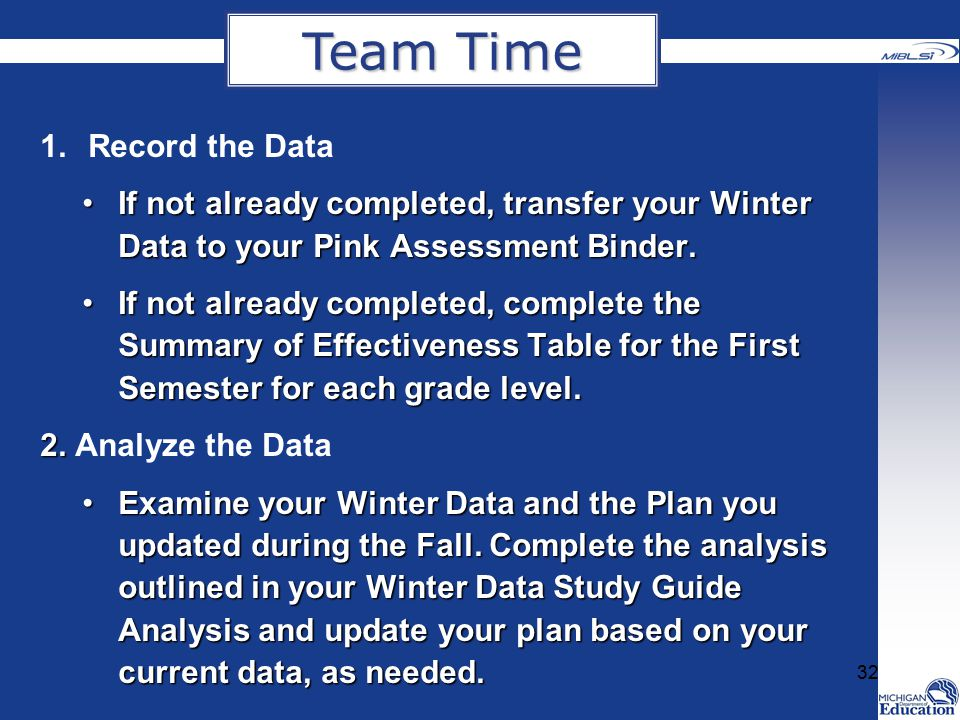 Team Time Record the Data