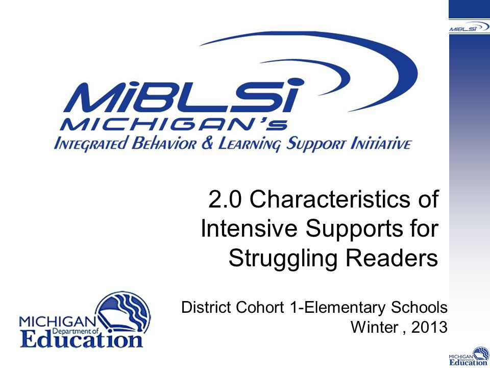 2.0 Characteristics of Intensive Supports for Struggling Readers