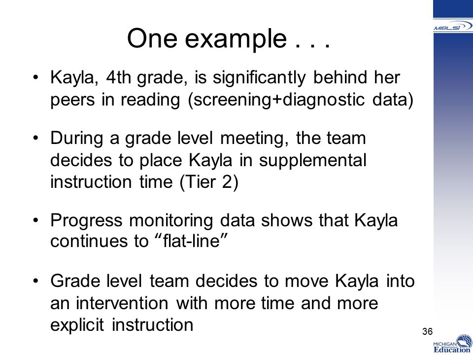 One example . . . Kayla, 4th grade, is significantly behind her peers in reading (screening+diagnostic data)