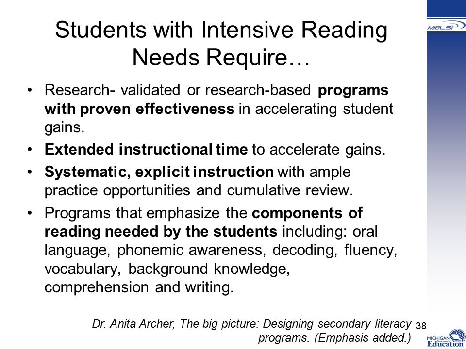 Students with Intensive Reading Needs Require…