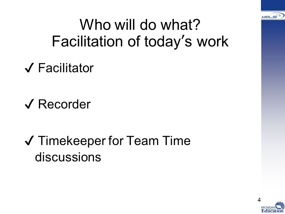 Who will do what Facilitation of today's work