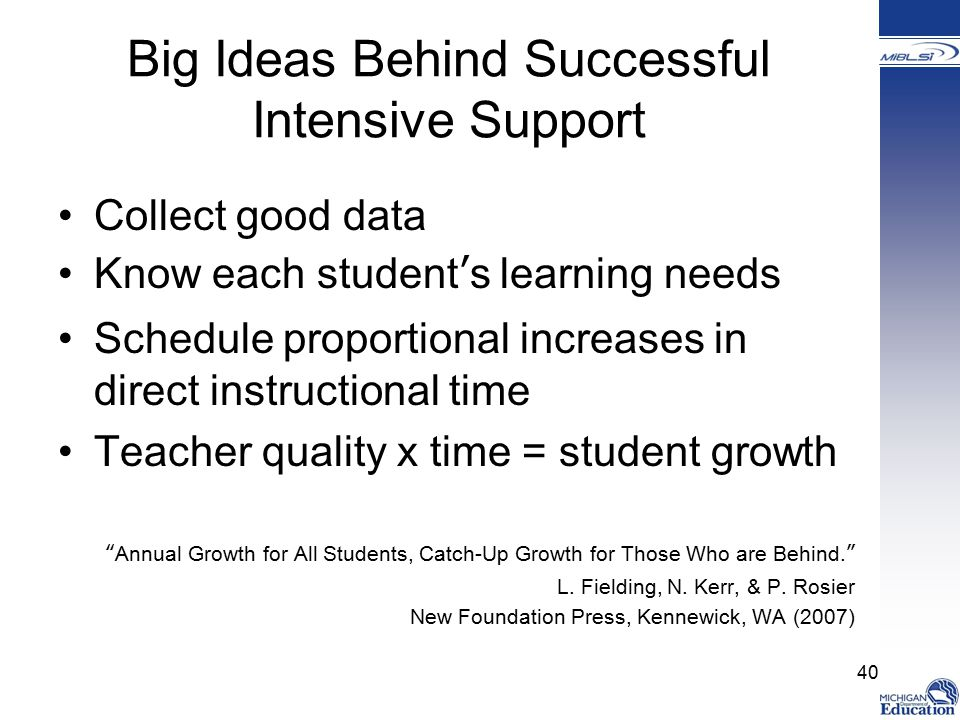Big Ideas Behind Successful Intensive Support