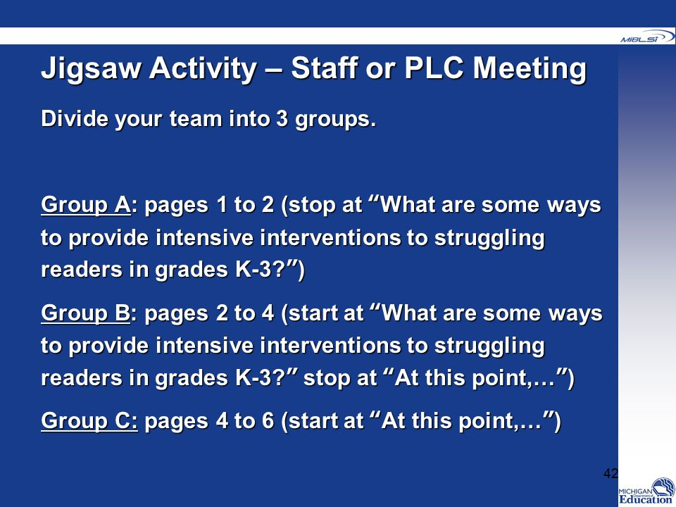 Jigsaw Activity – Staff or PLC Meeting