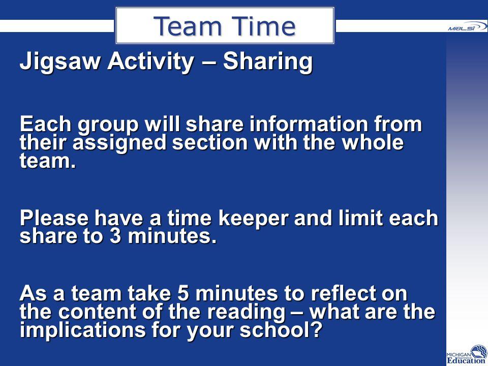 Team Time Jigsaw Activity – Sharing